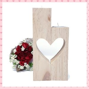 Heart Tea Light Candle Holder, Unfinished Wood